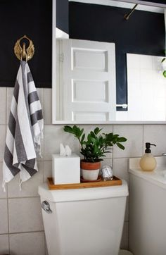 Another one with a small plant on top of the commode Small bathroom greenery