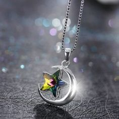 Fashion 925 Sterling Silver Crystal Star And Moon Shape Necklace For Women