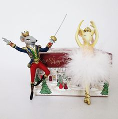 Nutcracker Ballet Mouse King and Mouse Ballerina Christmas decorations available now in our Christmas shop, along with other Nutcracker characters Christmas Decorations, Christmas Ornaments, Holiday Decor, Nutcracker Characters, Jewel Tones, Christmas Shopping, Ballerina, Ballet, Ballet Flat