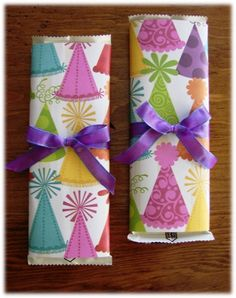 Wrapped Candy Bars = thrifty party favors! ~ at TheFrugalGirls.com #party #favors