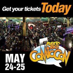 ¡¡¡NO TE QUEDES FUERA ESTE AÑO!!!! Ya falta menos para el PUERTO RICO COMIC CON 2014 el 24 y 25 de mayo en el Centro de Convenciones de PR. ¡Si aún no haz comprado tu boleto, te puedes quedar fuera!. Compra tu SINGLE Ticket en ticketpop.com  #prcomiccon #comicsrules #cosplay #puertoricocomiccon #ticketpop