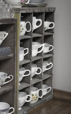 Jill Ruth & Co.: My Sewing Room - Tea cups holding supplies