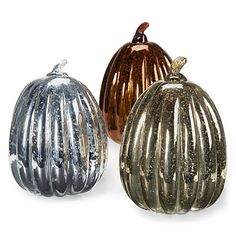 "Glisten Small Glass Vintage Pumpkins @ Big Lots $12.99 Each These glass pumpkins breathe new life into autumn décor, with a crackle finish and a harvest flare, available in gold, silver, or bronze. 8""H"