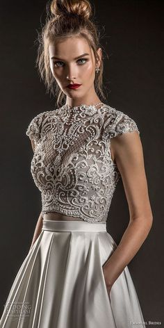 emanuel brides 2018 bridal cap sleeves jewel neckline heavily embellised bodice crop top satin skirt glamorous a line wedding dress covered lace back sweep train zv - Emanuel Brides 2018 Wedding Dresses - Welt der Hochzeit Top Wedding Dresses, Designer Wedding Dresses, Bridal Dresses, Wedding Gowns, Prom Dresses, Wedding Crop Top, Bridesmaid Gowns, Back Dresses, Lace Weddings