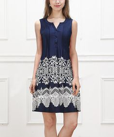 Navy Lace-Print Sleeveless Button-Front Dress