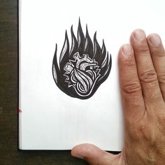 {flame fingers} heart on fire or 9 finger hand?  ##doodlersanonymous #inktober2015 #inktober #illo