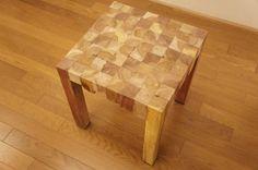 寄木ブロック スツール ナチュラル 椅子 銘木チーク 天然木 無垢の画像2枚目