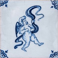 Musical Cherubs Blue Glazed Ceramic Tiles 5x5 | Country Floors of America