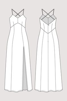 Buy the Elizabeth Gown sewing pattern from Named. This maxi-length, lined dress has a deep vent at the front and cross back spaghetti straps. Named Clothing, Diy Clothing, Sewing Clothes, Fashion Sewing, Diy Fashion, Ideias Fashion, Fashion Flats, Fashion Design Drawings, Fashion Sketches