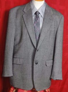 Alan Flusser Gray Cashmere Blend 2 Button Sport Coat Size 44R #AlanFlusser #TwoButton