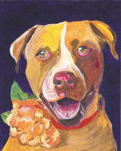 Bull Terrier Dog Portrait 8x10 Art Print by AbeesArtStudio, $20.00