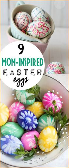 9 Mom Inspired Easter Eggs.  Brilliant Easter decorations at adult level.  Creative Easter egg projects for die hard crafters.