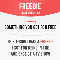 """Freebie"" means something you get for free.  Example: This T-shirt was a freebie…"