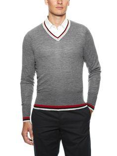 Black Fleece Tipped V-Neck Sweater