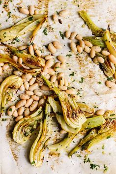 Sheet pan roasted fennel and white beans with parsley oil is a hearty, versatile meal or vegetarian side. Roasted fennel becomes crispy and caramelized. Vegetarian Side Dishes, Healthy Side Dishes, Side Dish Recipes, Lunch Recipes, Vegetable Recipes, Vegetarian Recipes, Cooking Recipes, Healthy Recipes, Diet Recipes