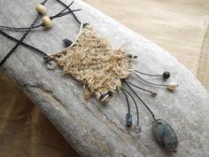 Hand woven Silk Necklace       - mini Weaving with raw Silk, Silver & gems - loom woven pendant - textile jewelry - fiber art