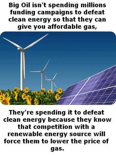 We need to catch up with other countries using wind and solar to their advantage. It is always about the money. Sad for America...