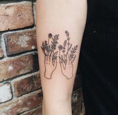 botanical tattoo. Forearm tattoo. Outline. Black. Ink