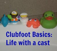 Greatly Blessed: Clubfoot Basics: Life with a cast club foot casting bathing a child in a cast
