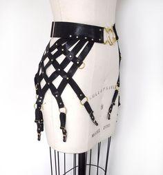 Ingrid Strappy Leather Web Garter Belt, Black Suede Stocking Suspenders, Gothic Lingerie, Burlesque & Dominatrix Fashion, Sexy Garters by LoveLornLingerie on Etsy https://www.etsy.com/listing/270352160/ingrid-strappy-leather-web-garter-belt - lingerie, boudoir, bridal, seduction, blue, cute lingerie *ad