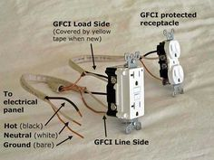 Standard outlets can be GFCI protected from a GFCI outlet. These diagrams show you how. Installing Electrical Outlet, Basic Electrical Wiring, Electrical Projects, Electrical Installation, Electrical Outlets, Electronics Projects, 3 Way Switch Wiring, Outlet Wiring, House Wiring