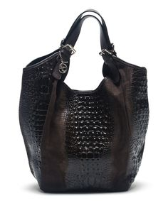 Look at this Testa Moro Croc-Embossed Leather Hobo on #zulily today!