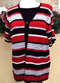 Sag Harbor XL Faux Twin Set Sweater Black/Multi Striped Short Sleeve Clip Front #SagHarbor #FauxTwinSet #WeartoWork