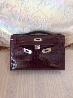 On Fire! Hermes Kelly Cut Geranium Crocodile Bag Clutch Pochette ...
