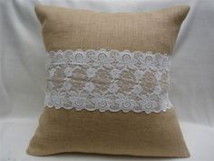 Burlap And Lace French  Country Pillow Cover 16X16