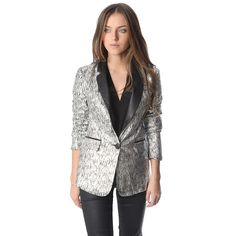 Silver blazer with metallic sheer and faux leather lapel