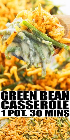GREEN BEAN CASSEROLE RECIPE- Classic, old fashioned, quick and easy side dish, homemade with simple ingredients in one pot in 30 minutes. Rich, creamy, topped off with crispy fried onions. From OnePotRecipes.com #greenbeans #casserole #onepotmeal #onepotrecipes #30minutemeal #30minuterecipes #sidedish #thanksgiving #vegetarian