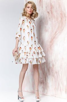 Šifonovoe plаtьe s volаnаmi ot Prestige 3077 Dress with ice-cream Lovely Dresses, Simple Dresses, Casual Dresses, Short Dresses, Fashion Dresses, Summer Dresses, Vestidos Para Baby Shower, Costume, Mode Hijab