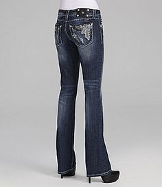 Miss Me Bootcut Jeans FluerdeLis Jeans #Dillards   I need these :)