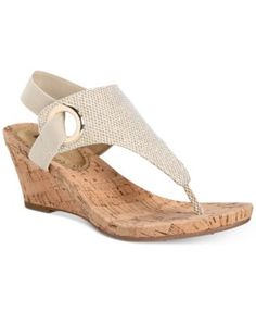 e533c9e7057 White Mountain Aida Cork Wrapped Wedge Sandals Gold Wedge Shoes