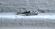 Art Deco Vintage 18K White Gold Diamond Wedding Band - 0.40ct.