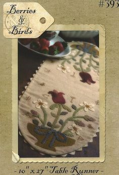 Primitive Folk Art Wool Applique and Cross Stitch Pattern:   BERRIES AND BIRDS