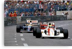 Ayrton Senna vs Nigel Mansell at Monaco '92 Canvas Print