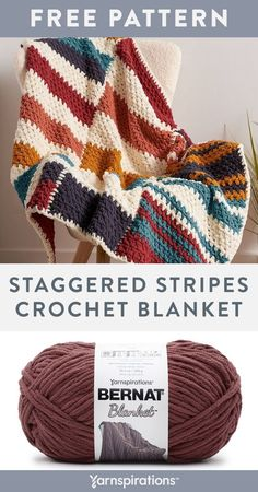 Free Staggered Stripes Crochet Blanket pattern using Bernat Blanket yarn. Colorful stripes and a modern graphic design make this cushy crochet blanket a must in any room. Featuring a selection of shades in varied stripe widths, from our super-bulky Bernat Blanket, you'll do the popular moss stitch for an easy all-over design. #Yarnspirations #FreeCrochetPattern #CrochetAfghan #CrochetThrow #CrochetBlanket #MossStitch #ModernGraphic #BernatYarn #BernatBlanket Striped Crochet Blanket, Knit Or Crochet, Crochet Blanket Patterns, Easy Crochet, Crochet Hooks, Free Crochet, Knitting Patterns, Crochet For Beginners Blanket, Crochet Patterns For Beginners