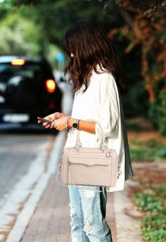 Rebecca Minkoff Mab Mini Cream Bag With Silver Hardware   #rebeccaminkoffbag
