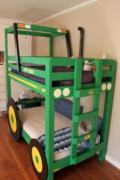 DIY Tractor Bunk Bed! Love this, but at my house it would have to be red, LOL!!