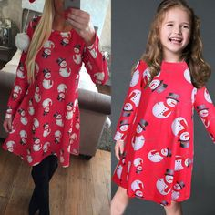 2017 Family look Christmas Dress Mother Daughter Dresses Family Matching Clothes Mom Family Long Sleeve Print Dresses Outfit