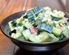 Avocado-Cucumber Salad, addictively good, many variations ~ Low carb, gluten-free, Weight Watchers PointsPlus 4 ~ AVeggieVenture.com