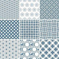 Japanese traditional pattern set. Illustration