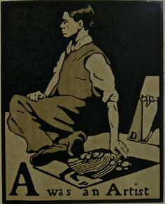 From An Illustrated Alphabet, woodcut print, ca. 1898 by William Nicholson. Nicholson portrayed himself as pavement artist. William Nicholson, Woodcut Art, Wood Engraving, Woodblock Print, Illustrations Posters, Illustrators, Illustration Art, Drawings, Artwork