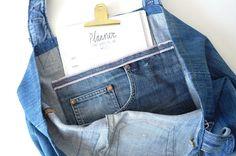 denim tote bag denim bag light blue jeans bag recycled