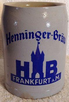 Vintage Pottery GERMAN Beer Stein Mug Henninger-Brau Frankfurt A.M. 0.5 L