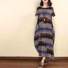 Women vintage short sleeve cotton linen loose dress