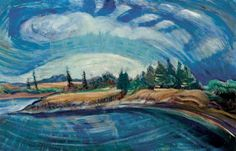 THE BAY, Emily Carr. Oil on paper laid down on plywood Tom Thomson, Canadian Painters, Canadian Artists, Landscape Art, Landscape Paintings, Emily Carr Paintings, Impressionist Paintings, Oil Paintings, National Art
