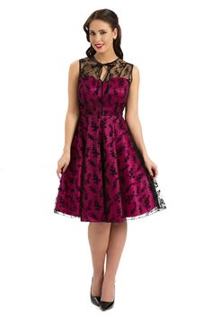 Voodoo Vixen Retro Lace Vintage FLARE DRESS / Pin Up Kleid
