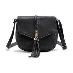116eb04eb9 Vintage Leather Tassel Shoulder Handbag